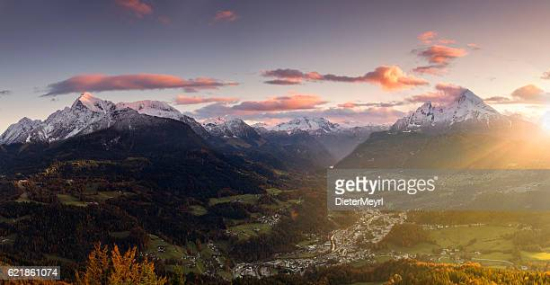 berchtesgaden with watzmann at sunrise in autumn - panorama - königssee bavaria stock photos and pictures