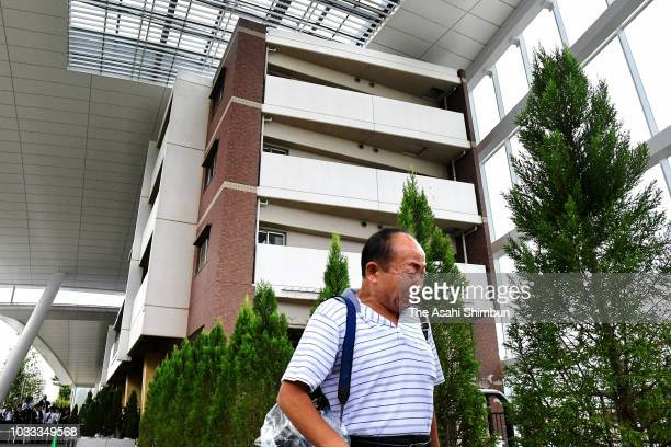 A bereaved family member visits the 'InorinoMori' memorial facility of the Amagasaki Train Crash on September 14 2018 in Amagasaki Hyogo Japan The...
