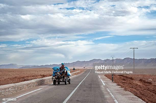 CONTENT] Bereber family riding a horse cart on a road crossing the dry hammada desert Figuig Morocco