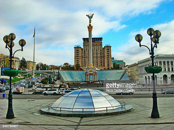Berehynia Statue On Architectural Column At Independence Square Against Cloudy Sky