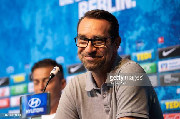 Bereiche Michael Preetz of Hertha BSC smiles during the press conference on august 29, 2019 in Berlin, Germany.