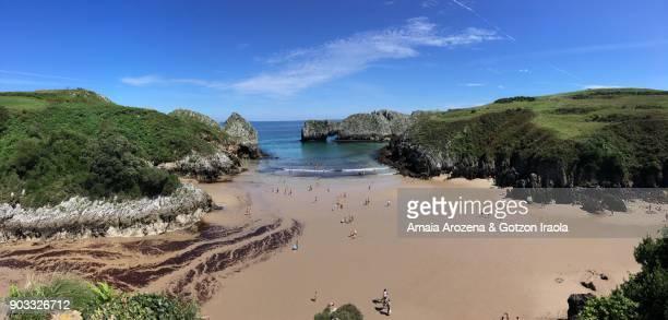 berellin beach in cantabria region. north of spain. - vr 360 fotografías e imágenes de stock