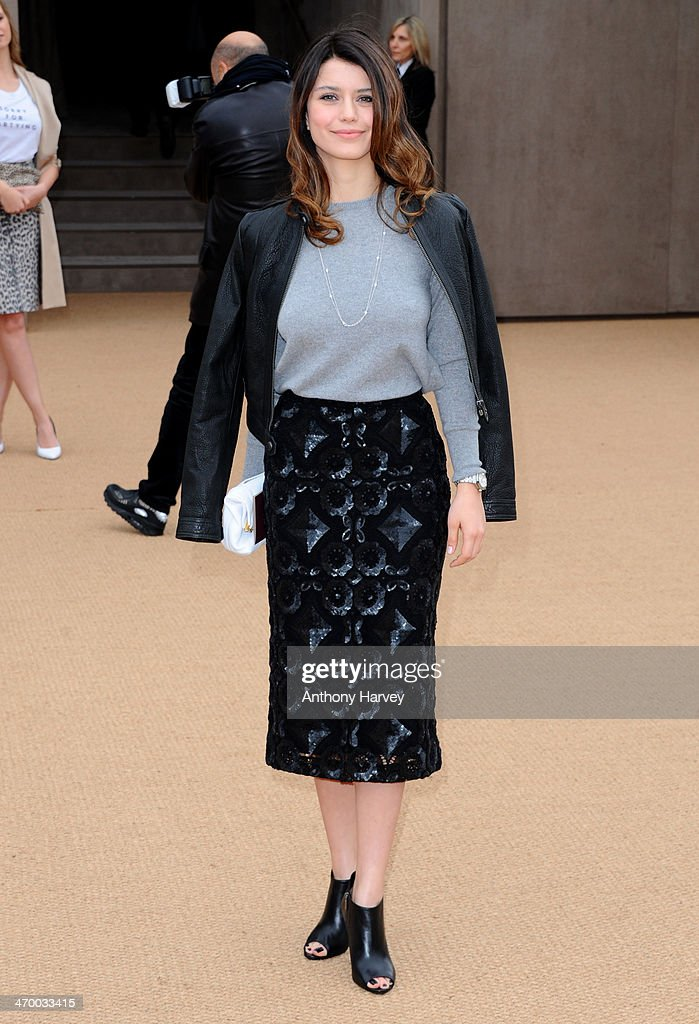 Beren Saat attends the Burberry Prorsum show at London Fashion Week AW14 at Kensington Gardens on February 17, 2014 in London, England.