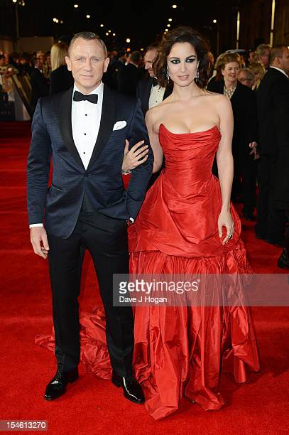 Berenice Marlohe and Daniel Craig attend the Royal world premiere of 'Skyfall' at The Royal Albert Hall on October 23 2012 in London England