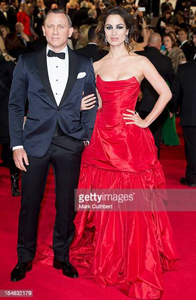 Berenice Marlohe and Daniel Craig attend the Royal World Premiere of 'Skyfall' at Royal Albert Hall on October 23 2012 in London England