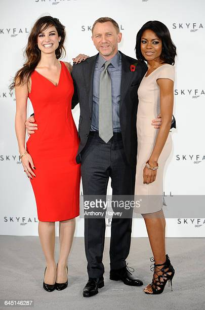 Berenice Marlohe Daniel Craig and Naomie Harris attend the photocall for the 23rd James Bond film Skyfall on November 3 2011 at the Massimo...