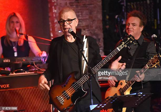 Berenice Scott Tony Visconti and James Stevenson of Holy Holy perform onstage at Michael Dorf Presents The Music of David Bowie Rehearsal Show at...