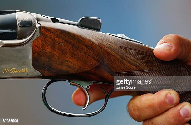 Beretta rifle is shot during the men's trap qualification shooting event held at the Beijing Shooting Range Hall during Day 2 of the 2008 Beijing...
