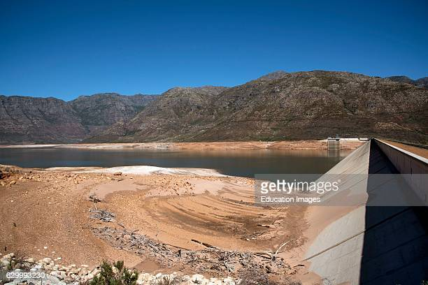 Berg River Dam Franschhoek Western Cape South Africa The Dam Wall And Low Water Level Of The Berg River Dam Reservoir Near Franschhoek In The Western...