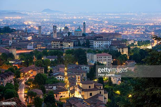 bergamo at dusk, lombardy, italy - bergamo stock pictures, royalty-free photos & images
