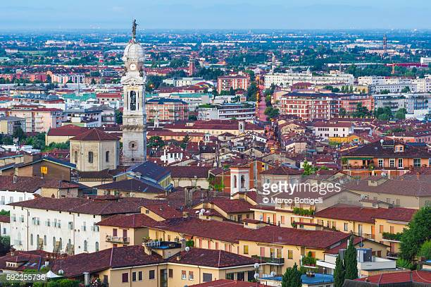 Bergamo, Lombardy, Italy. High angle view over the city.