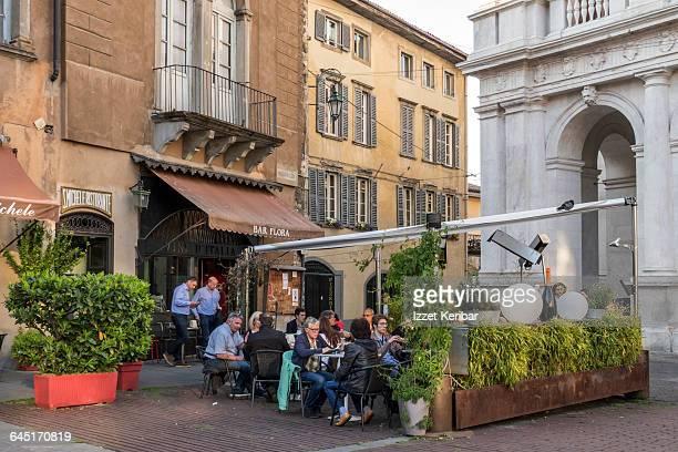 Bergamo Old city ( Piazza Vecchia) square , Italy