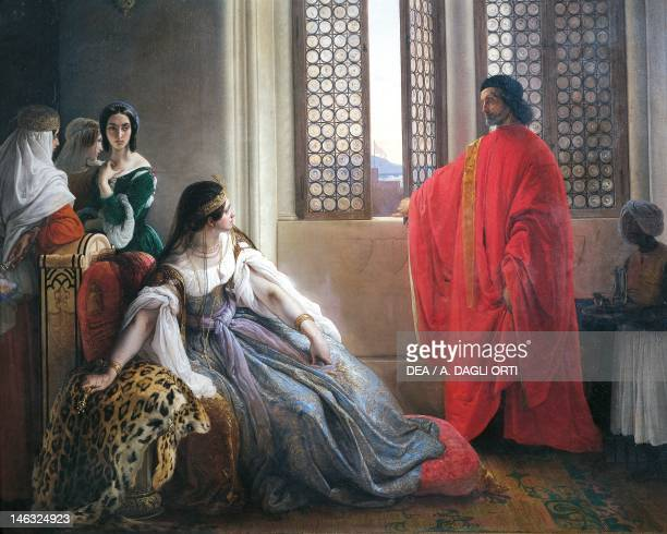 Bergamo, Pinacoteca Dell'Accademia Carrara Caterina Cornaro receives the news of the deposition of the Queen of Cyprus by Francesco Hayez , oil on...