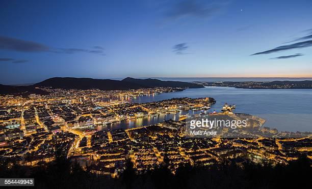 Bergen by night, Norway.