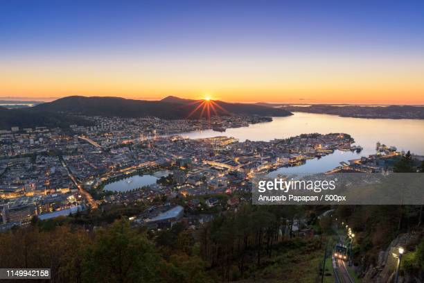 bergen : day to night - bergen norway stock pictures, royalty-free photos & images