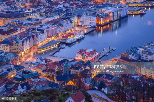 bergen from above at twilight time, norway - bergen norway stock pictures, royalty-free photos & images