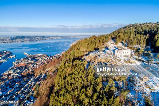 bergen, norway as seen from mount ulriken - bergen norway stock pictures, royalty-free photos & images