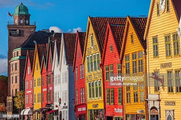 bergen traditional houses in bryggen - bergen norway stock pictures, royalty-free photos & images