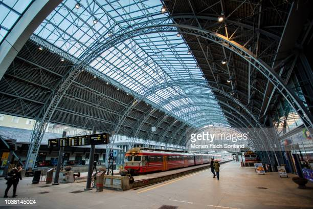 bergen train station, norway on a winter afternoon - hordaland county stock pictures, royalty-free photos & images