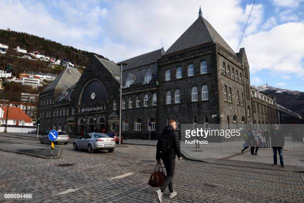 Bergen train station on March 04 2017 Bergen is a city on Norways southwestern coast It's surrounded by mountains and fjords including Sognefjord the...