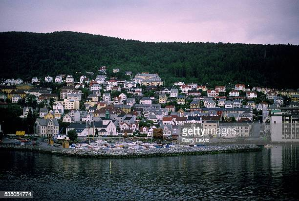 Bergen. View fom the Coastal Express ship which sails between Bergen and Kirkenes. For more than a century, the coastal steamer Hurtigruten has been...