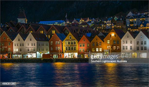 Bergen Warehouses at night
