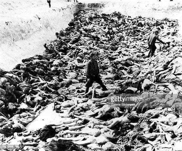 BergenBelsen Concentration Camp A mass grave dug after the camp has been turned over to the Allied 21st Army Group 15th April 1945 55000 inmates many...