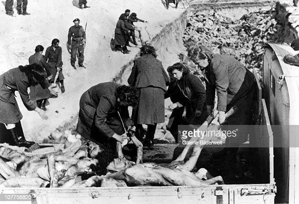 BergenBelsen Concentration Camp A mass grave dug after the camp was turned over to the Allied 21st Army Group 16th April 1945 55000 inmates many...