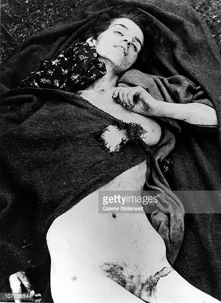 BergenBelsen Concentration Camp Corpse of a woman after the arrival of the Allied 21st Army Group 15th April 1945 55000 inmates many suffering from...
