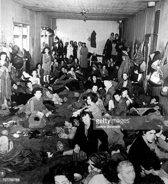 BergenBelsen Concentration Camp Gypsy women in a barrack block with no bunks in one of the camps after the camp has been turned over to the Allied...
