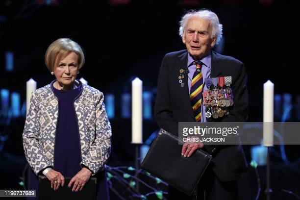 Bergen-Belsen survivor Mala Tribich and WWII veteran Ian Forsyth speak during the UK Holocaust Memorial Day Commemorative Ceremony at Methodist...