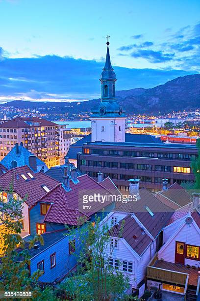 Bergen's houses and Church in the dawn