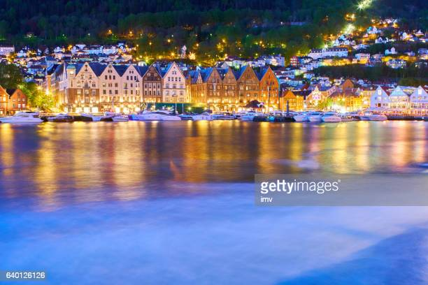 bergen's port timber houses - bergen norway stock pictures, royalty-free photos & images