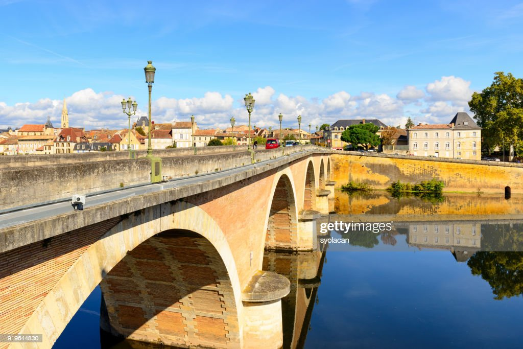 Bergerac with Dordogne river : Stock Photo
