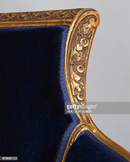 Bergere armchair by Louis Majorelle gilded and carved wood Art nouveau style France 20th century Detail
