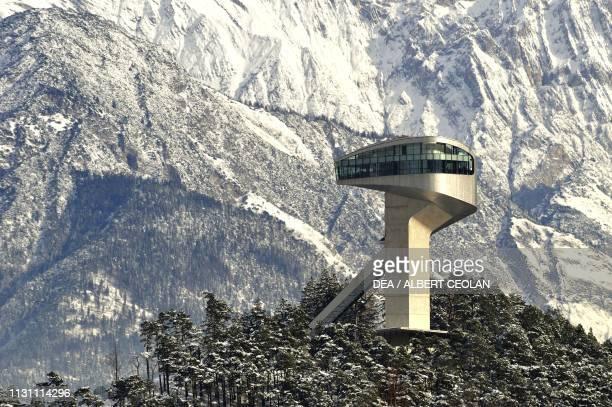 Bergiles ski jumping hill designed by architect Zaha Hadid Innsbruck Tyrol Austria