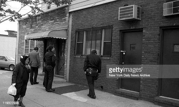 Bergin Hunt and Fish Club on 101st Avenue in Ozone Park NY Police check brick facade of John Gotti's clubhouse in Ozone Park Queens for evidence of...