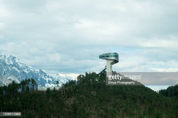 bergisel ski jump by zaha hadid architect - innsbruck, austria - winter sports event stock pictures, royalty-free photos & images