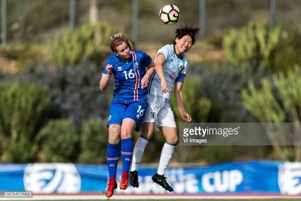 Berglind Bjorg Thorvaldsdóttir of Iceland women Saki Kumagai of Japan women during the Algarve Cup 2018 match between Japan and Iceland at the...