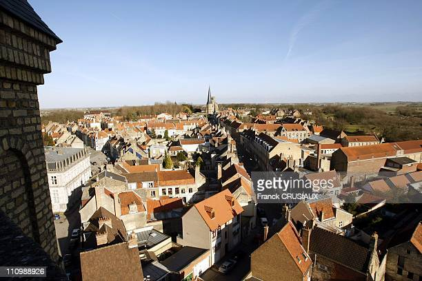 Bergues on the trail of Dany Boon's movie ' Bienvenue chez les ch'tis' in Bergues France on March 06th 2008Aerial view of Bergues