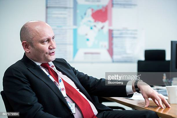 Berislav Gaso chief operating officer of the upstream division at MOL Hungarian Oil And Gas Plc gestures as he speaks during an interview at the...