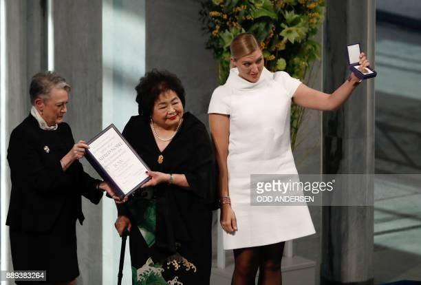 Berit ReissAndersen chairperson of the Norwegian Nobel Committee hands over the 2017 Nobel Peace Prize to Beatrice Fihn leader of ICAN and Hiroshima...