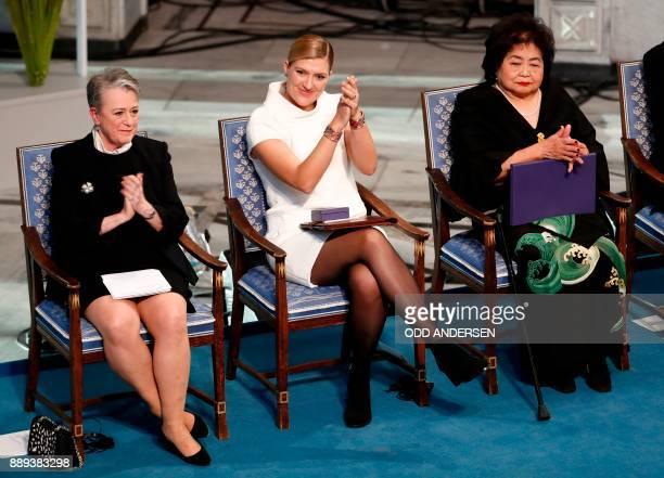 Berit ReissAndersen chairperson of the Norwegian Nobel Committee Beatrice Fihn leader of ICAN and Hiroshima nuclear bombing survivor Setsuko Thurlow...