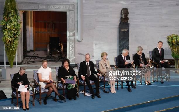 Berit ReissAndersen chairperson of the Norwegian Nobel Committee Beatrice Fihn leader of ICAN Hiroshima nuclear bombing survivor Setsuko Thurlow and...