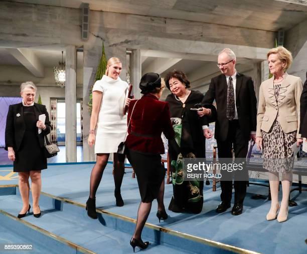 Berit ReissAndersen chairperson of the Norwegian Nobel Committee Beatrice Fihn leader of ICAN Queen Sonja of Norway Hiroshima nuclear bombing...