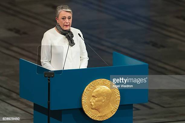 Berit Reiss-Andersen of Norway speaks to the audience and honours this yearâs Nobel Peace Prize winner, Colombian President Juan Manuel Santos during...
