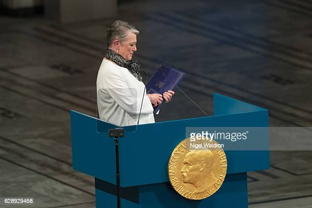 Berit Reiss-Andersen of Norway speaks to the audience and honours this yearâs Nobel Peace Prize winner Colombian President Juan Manuel Santos during...