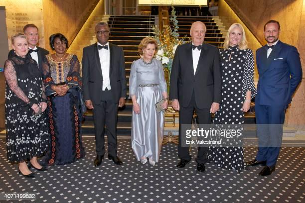 Berit ReissAndersen Olav Njoelstad Madeleine Kaboyi Mukwege Peace Prize winner Dr Denis Mukwege Queen Sonja King Harald Crown Princess MetteMarit and...