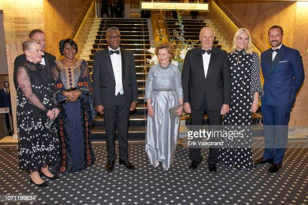 Berit ReissAndersen Olav Njoelstad Madeleine Kaboyi Mukwege Peace Prize winner Dr Denis Mukwege Queen Sonja King Harald Crown Princess MetteMarit and...