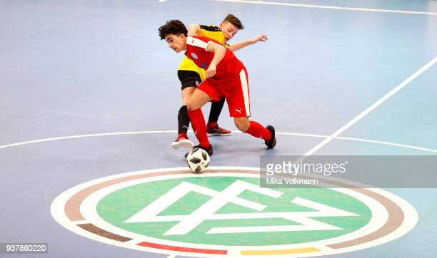 Berkan Kuecuek of Hombrucher SV fights for the ball during the DFB Indoor Football match between Hombrucher SV 09/72 and SC Fortuna Koeln on March 25...